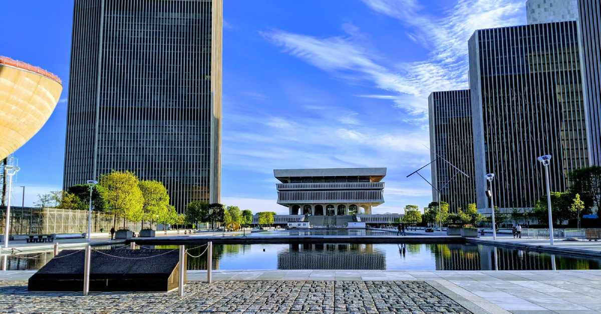 view of the empire state plaza in albany
