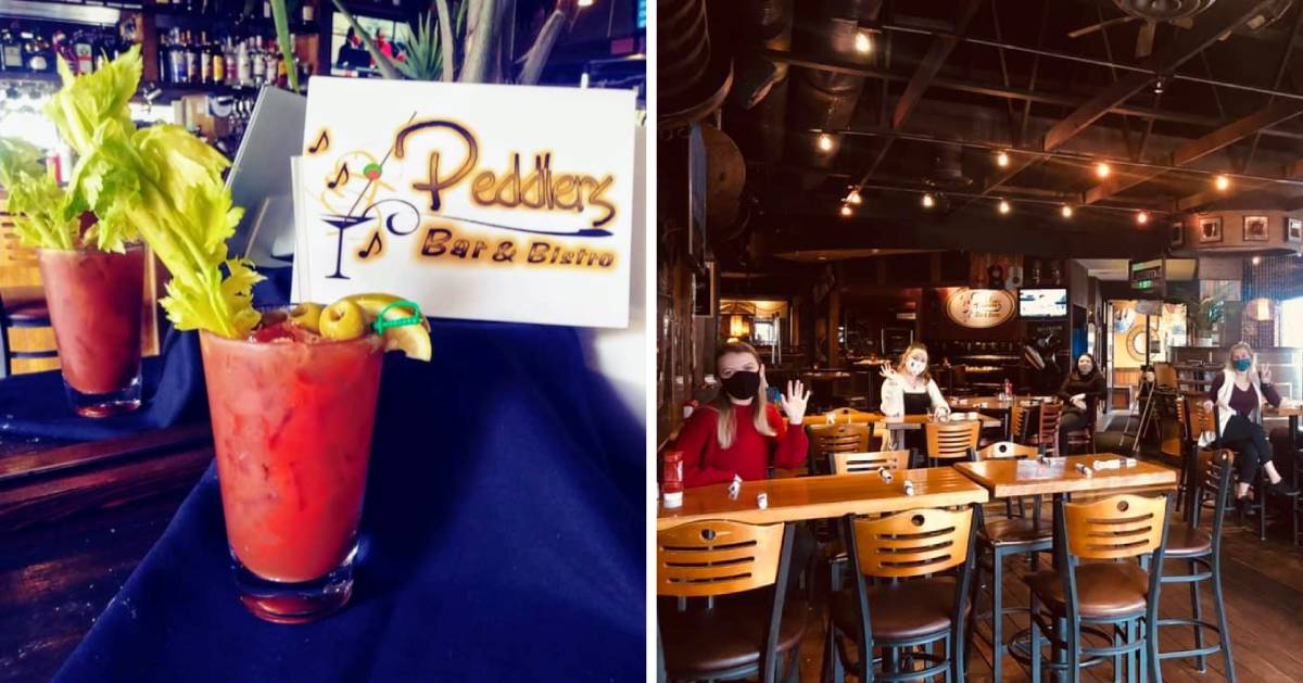 split image with bloody marys on the left and inside of restaurant on the right