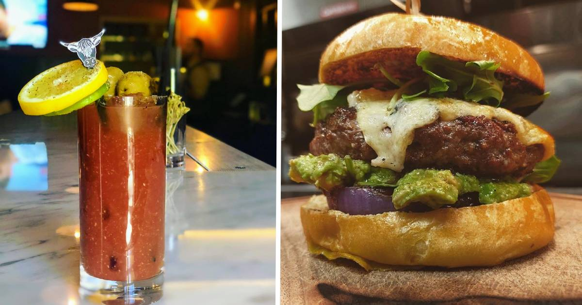 split image with bloody mary on the left and burger on the right