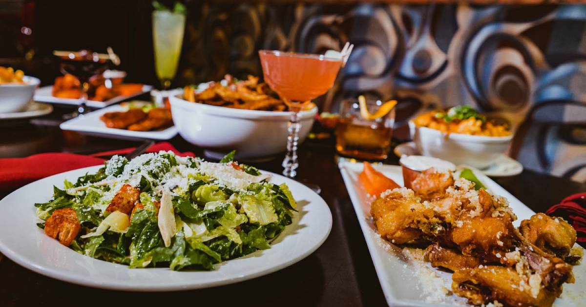 food and drinks on restaurant table