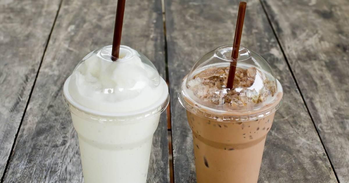one vanilla and one chocolate milkshake