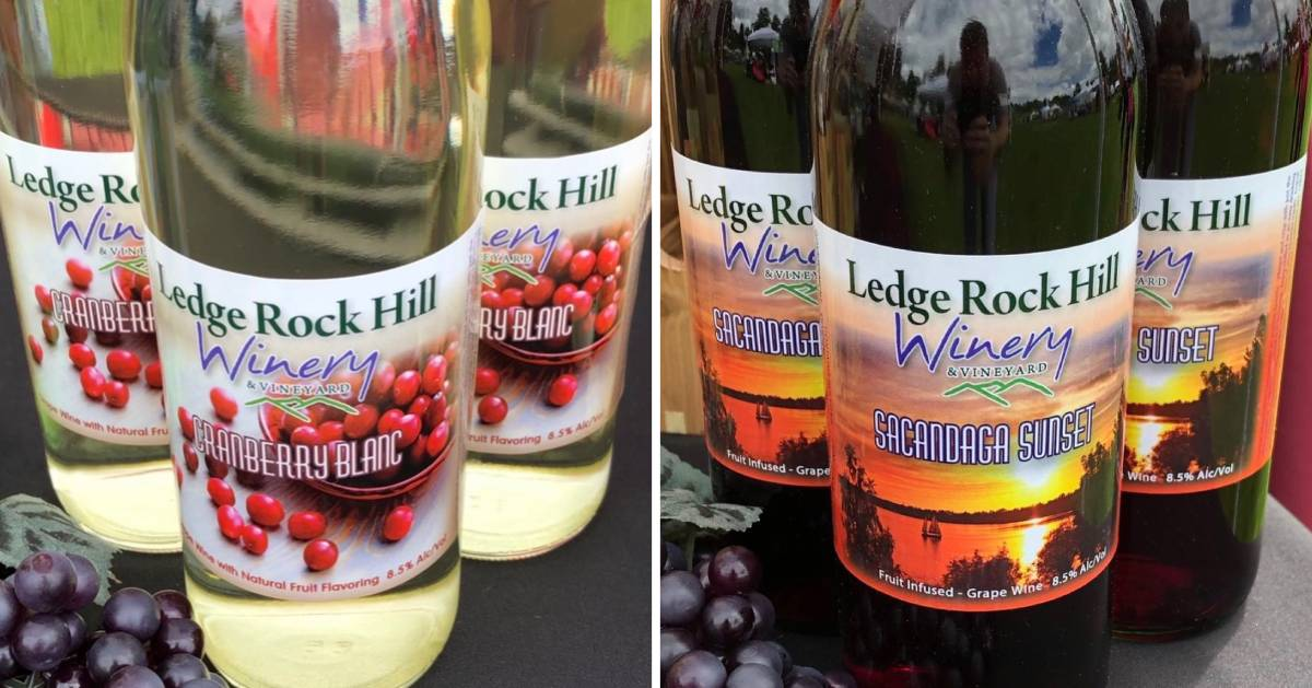 split image with white Ledge Rock Hill Winery wine on the left, and red on the right