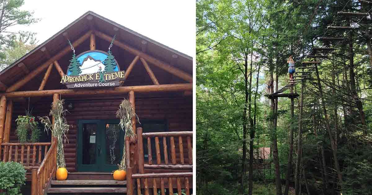 split image with outside of Adirondack Extreme on the left and treetop course on the right