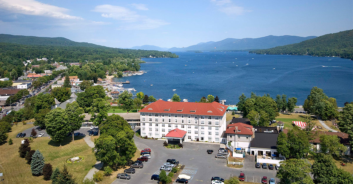 aerial view of fort william henry in the summer