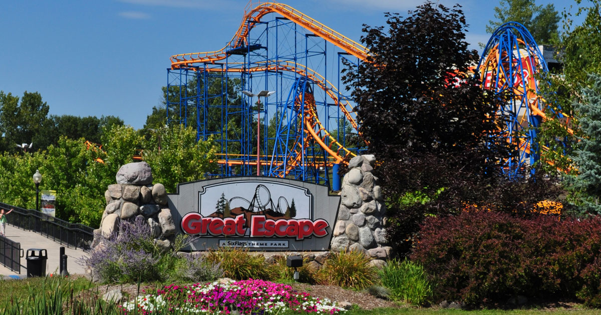 the Great Escape sign and roller coaster