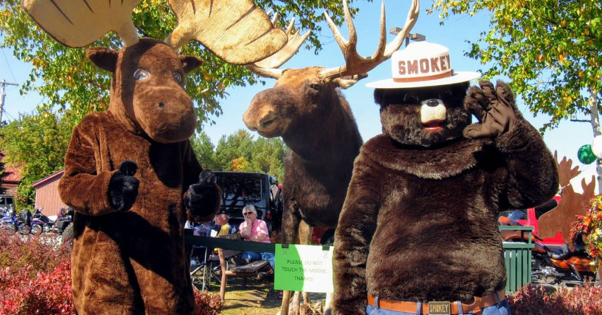 bear and moose costumed people