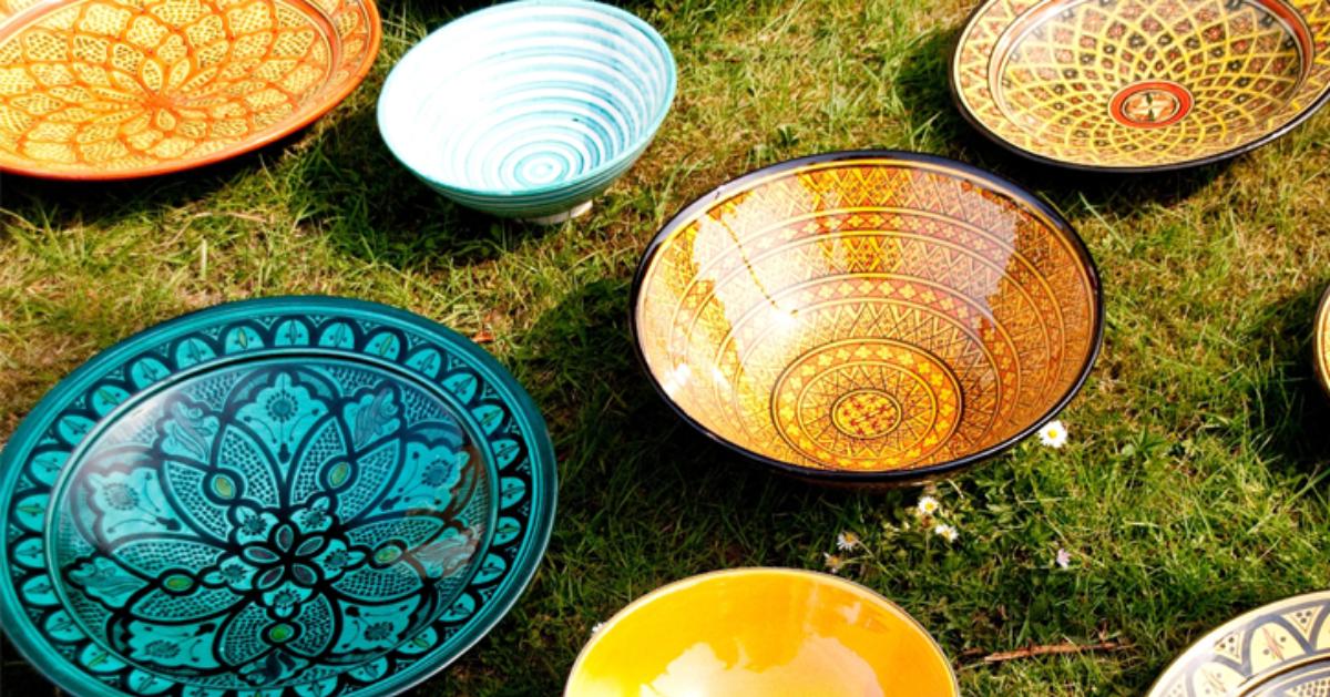 decorative bowls displayed on grass