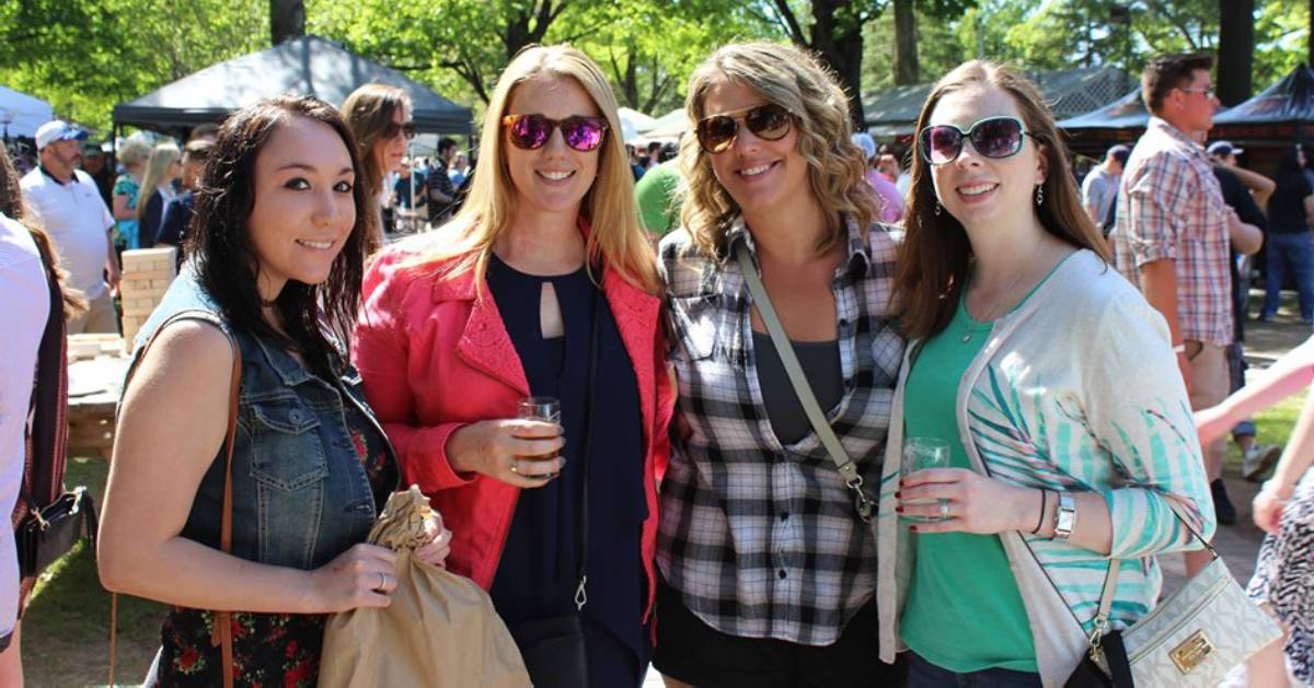 four women at beer tasting event