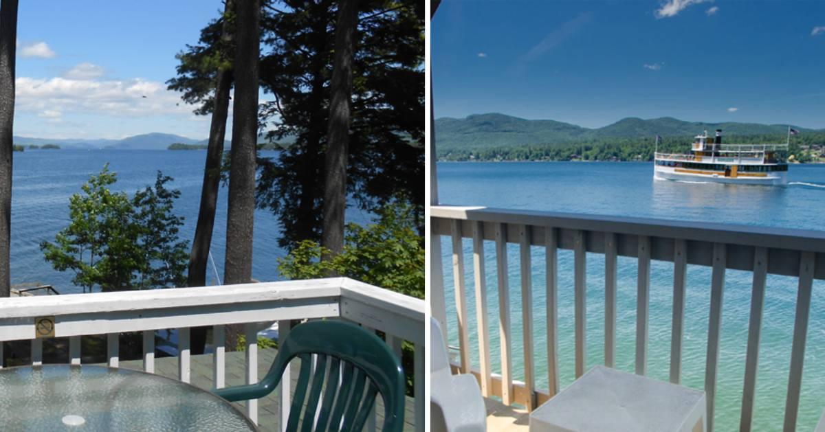 split image, both sides with water views of lake
