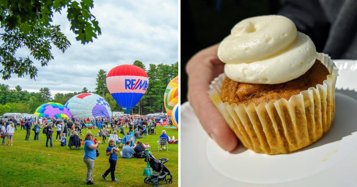 split image with balloon festival on left and a cupcake on the right