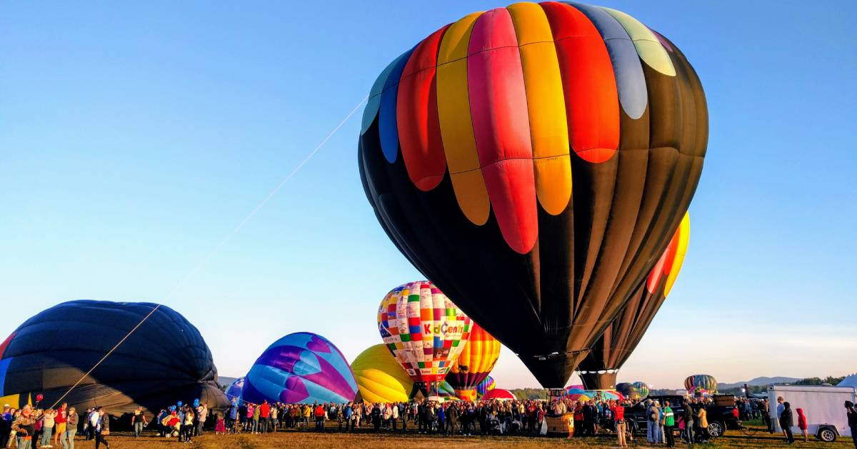 hot air balloons and crowd