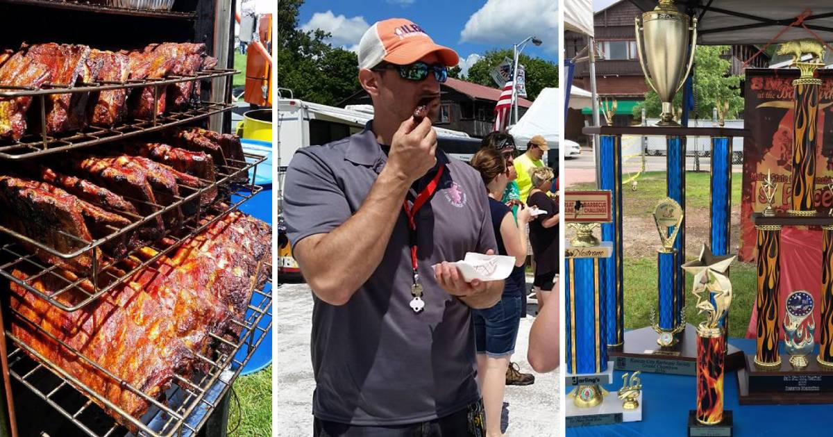 image split in three of barbecue on the grill, man eating barbecue, and barbecue trophies