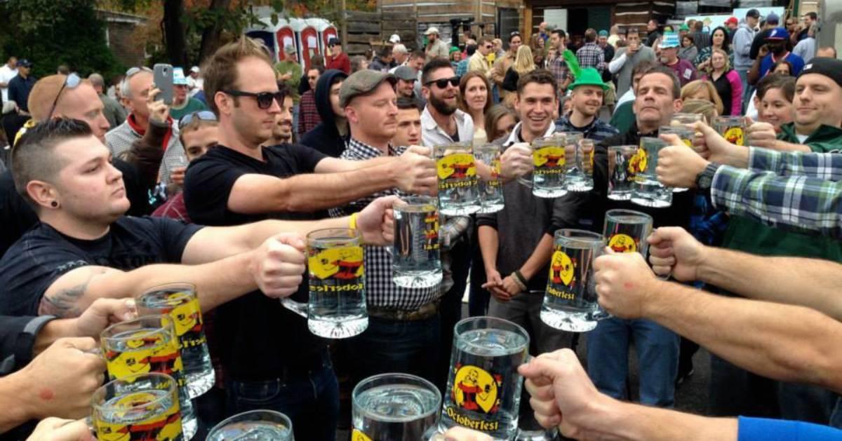 men cheersing beers