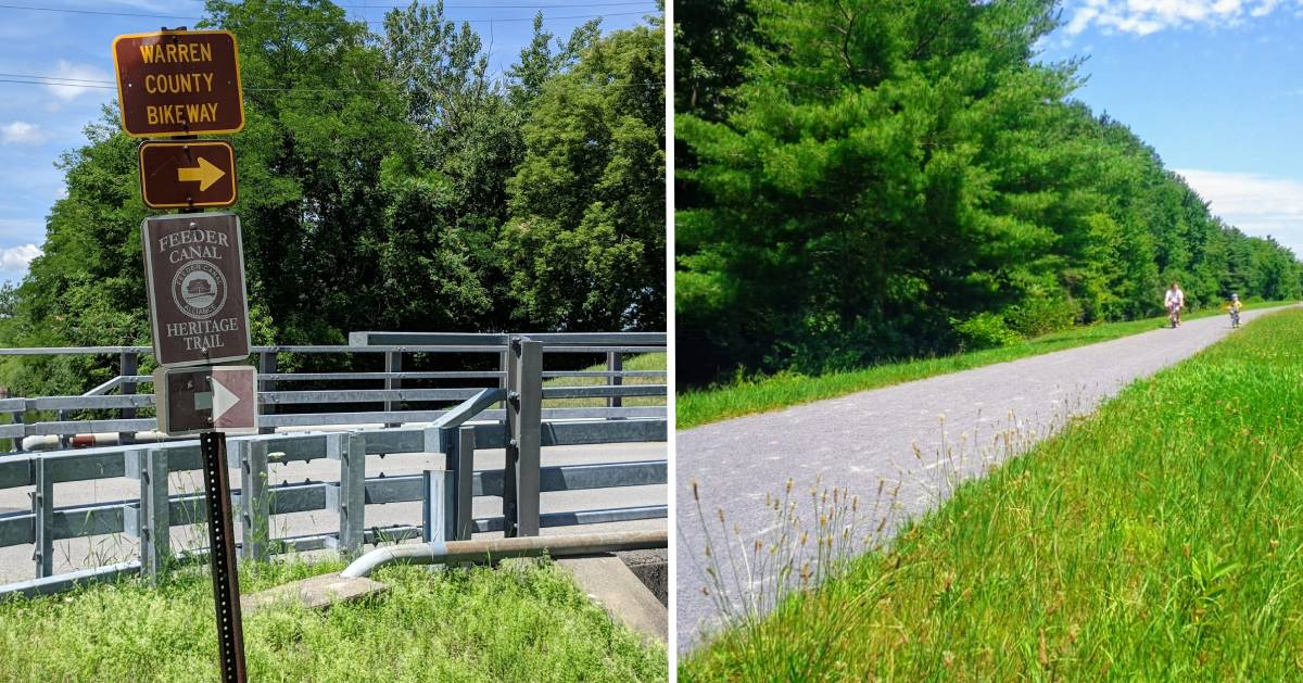 split image with bikeway and towpath trail signs on the left and bikers in the distance on the right