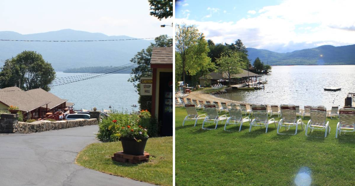 split image with lake views from resort on either side