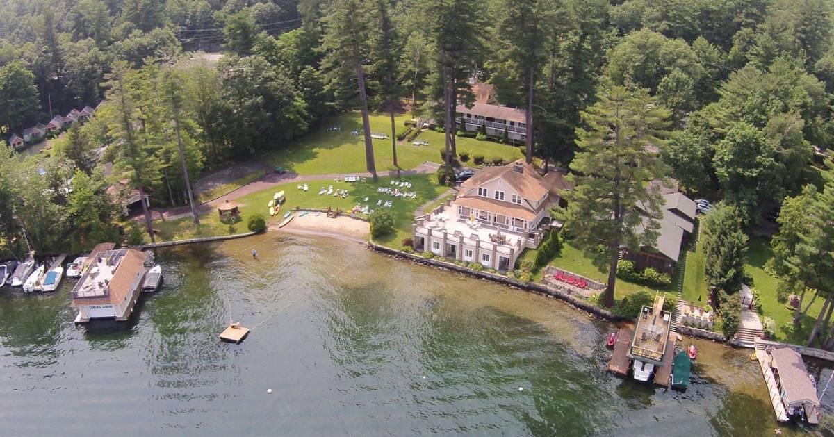 aerial view of lakeside resort