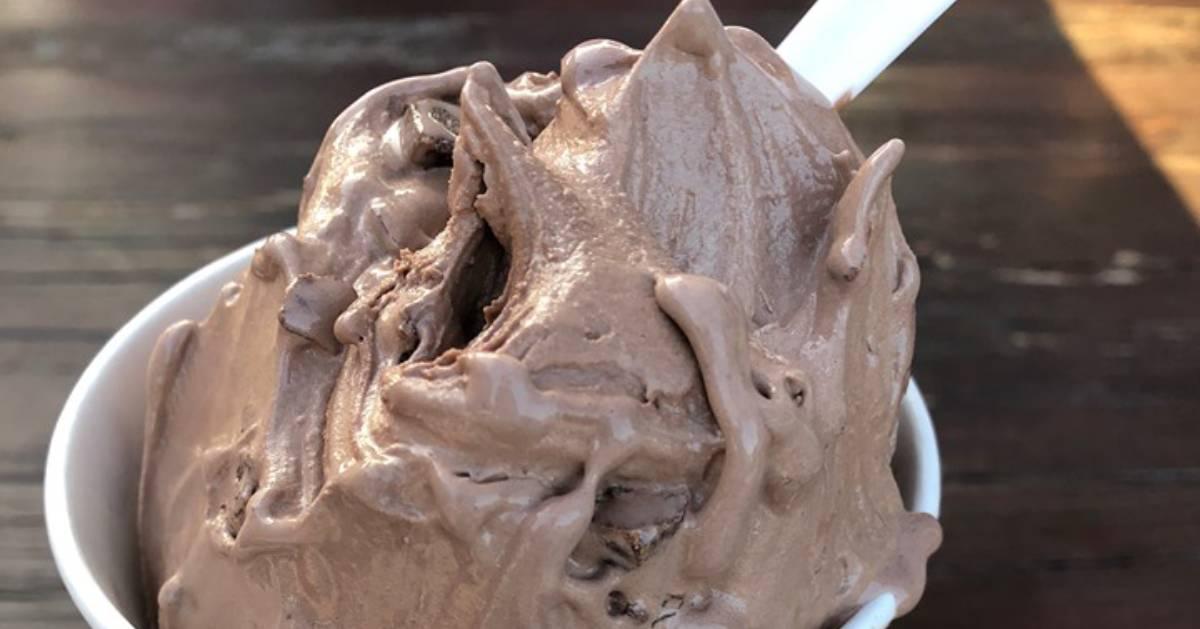 chocolate ice cream in a dish