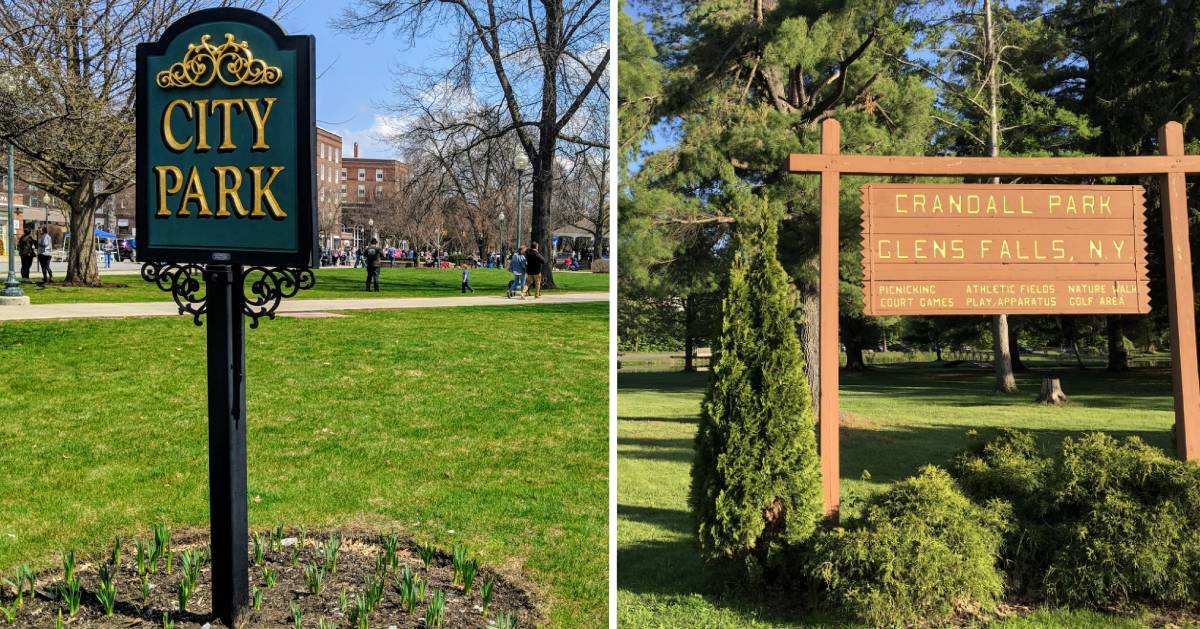 split image with signs of City Park and Crandall Park