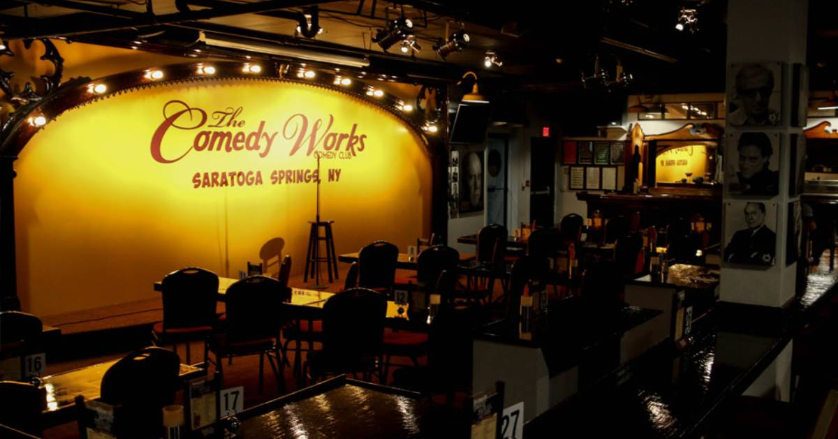 the inside of a comedy club