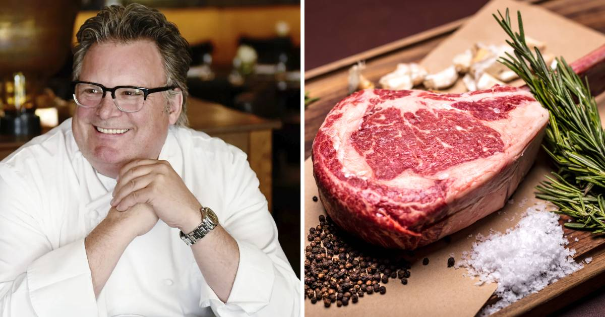 split image with chef on the left and raw steak on the right