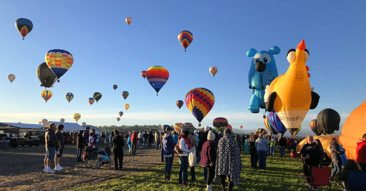 people at a hot air balloon festival