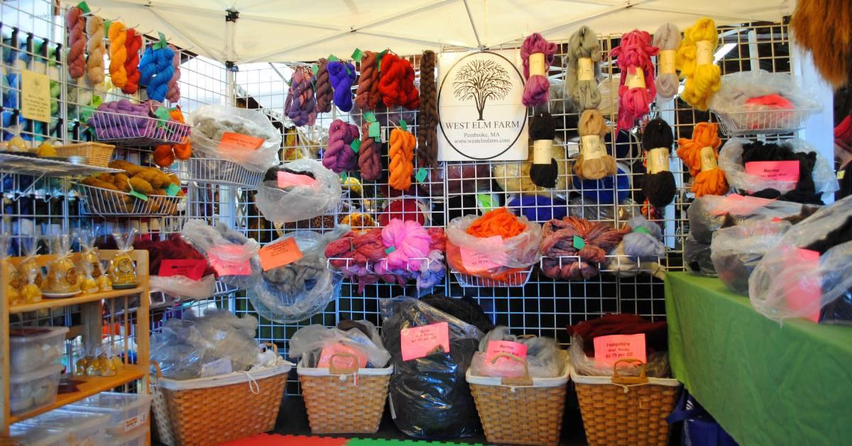 wool crafts on display