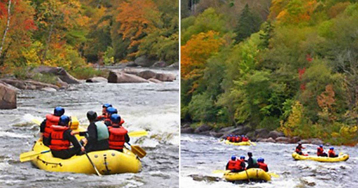 split image of whitewater rafters in the fall