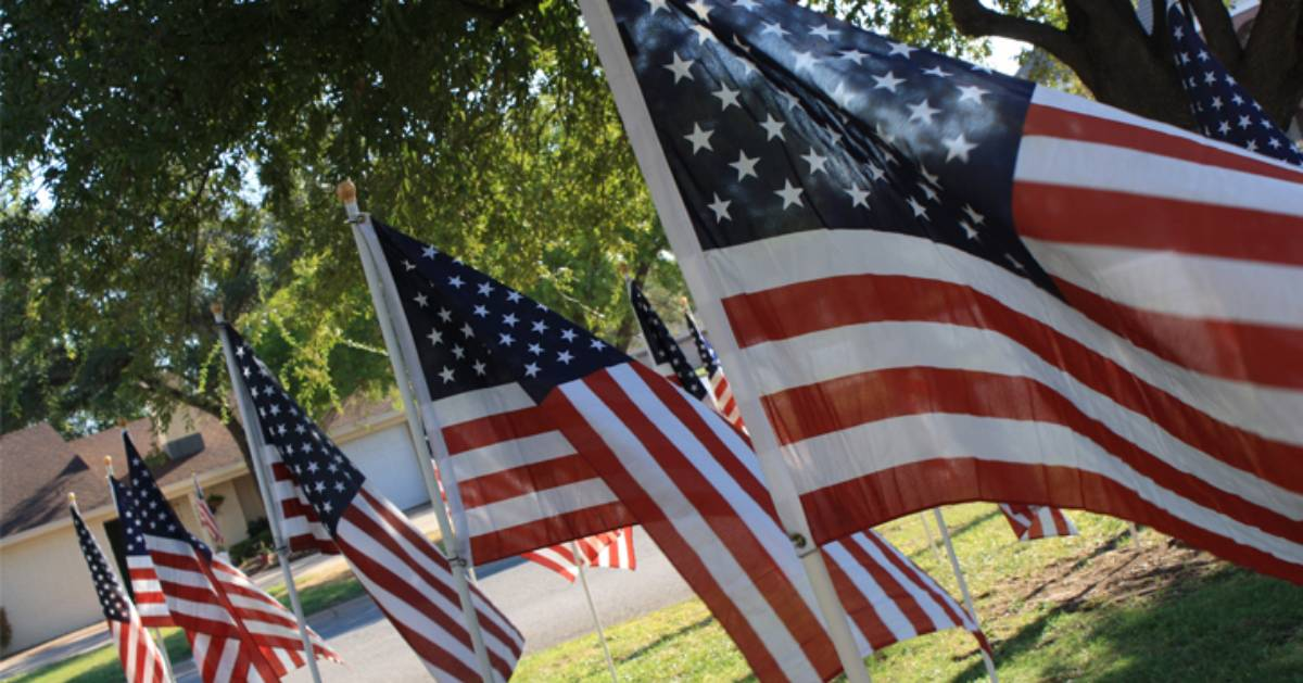 flags posted in the ground
