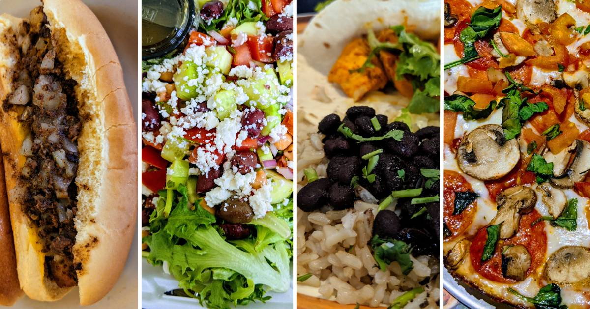 image split in four of various restaurant meals