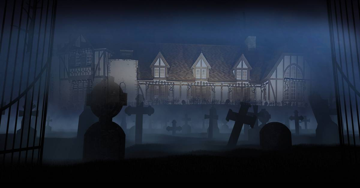 picture of a cemetery, mist, and a haunted mansion
