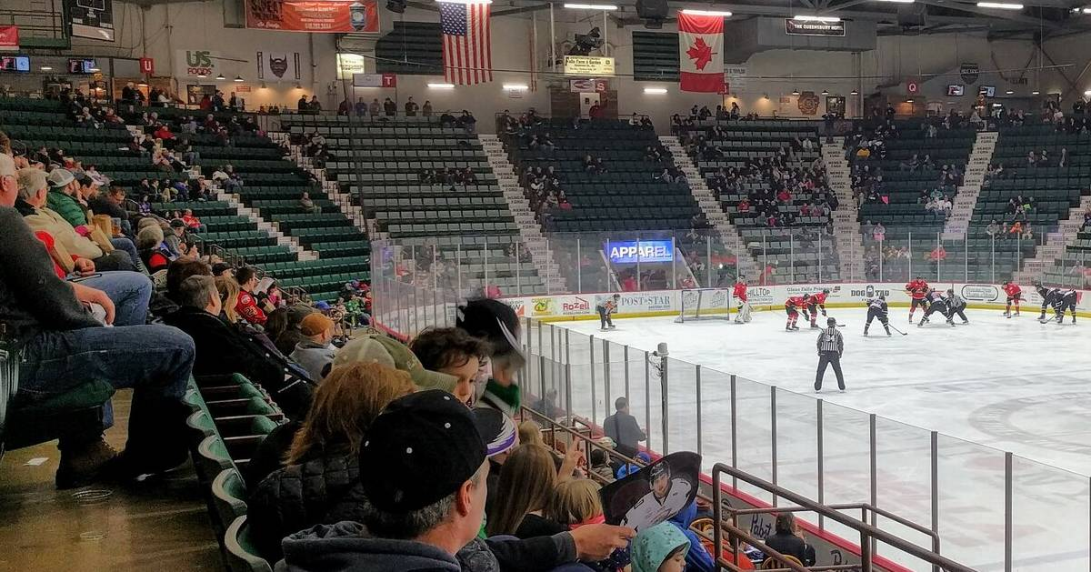 a hockey game at an arena