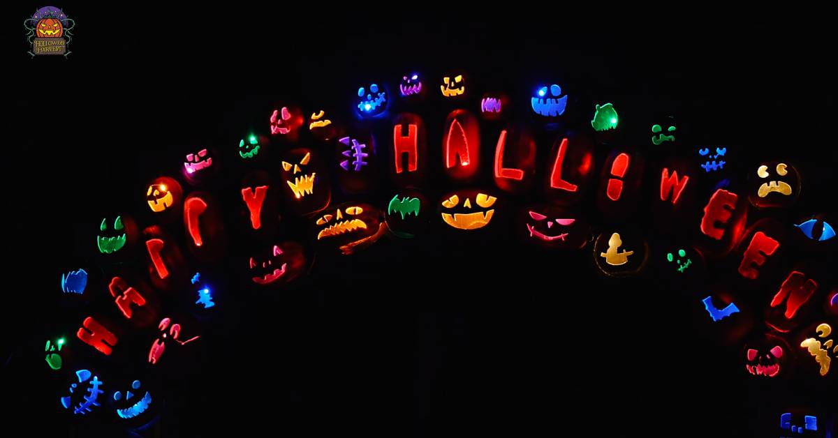 colorful jack o lanterns in an arch shape
