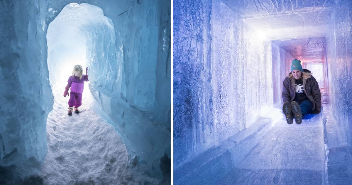 split image with toddler girl on the left at ice castles and older girl on the right on an ice castle slide