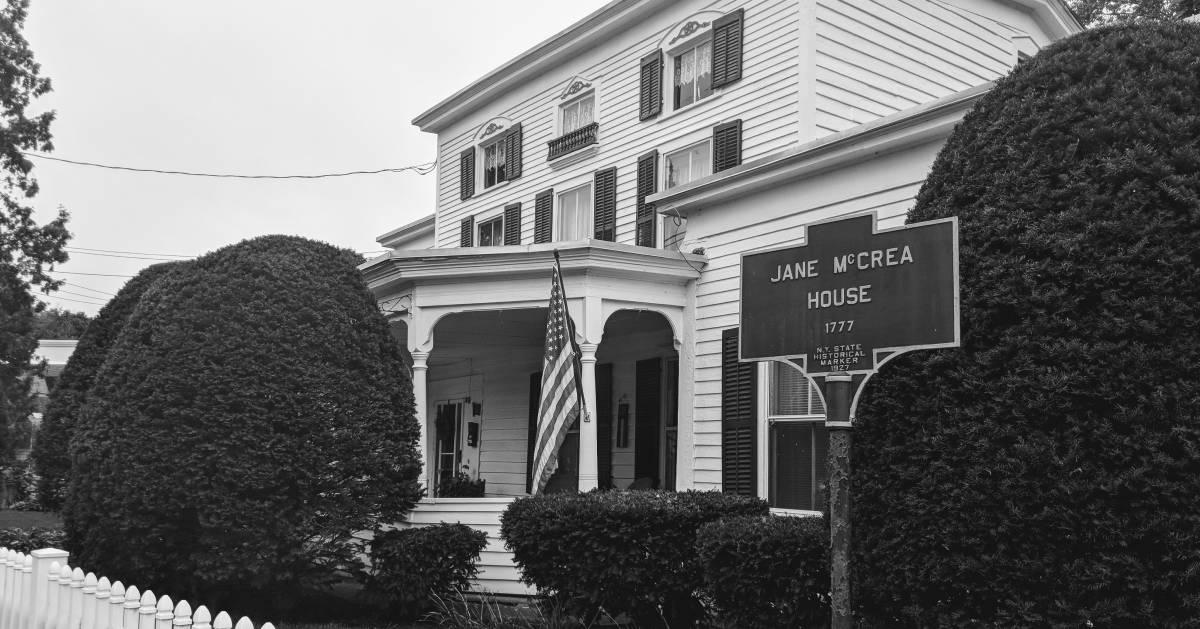 Jane McCrea House, black and white image