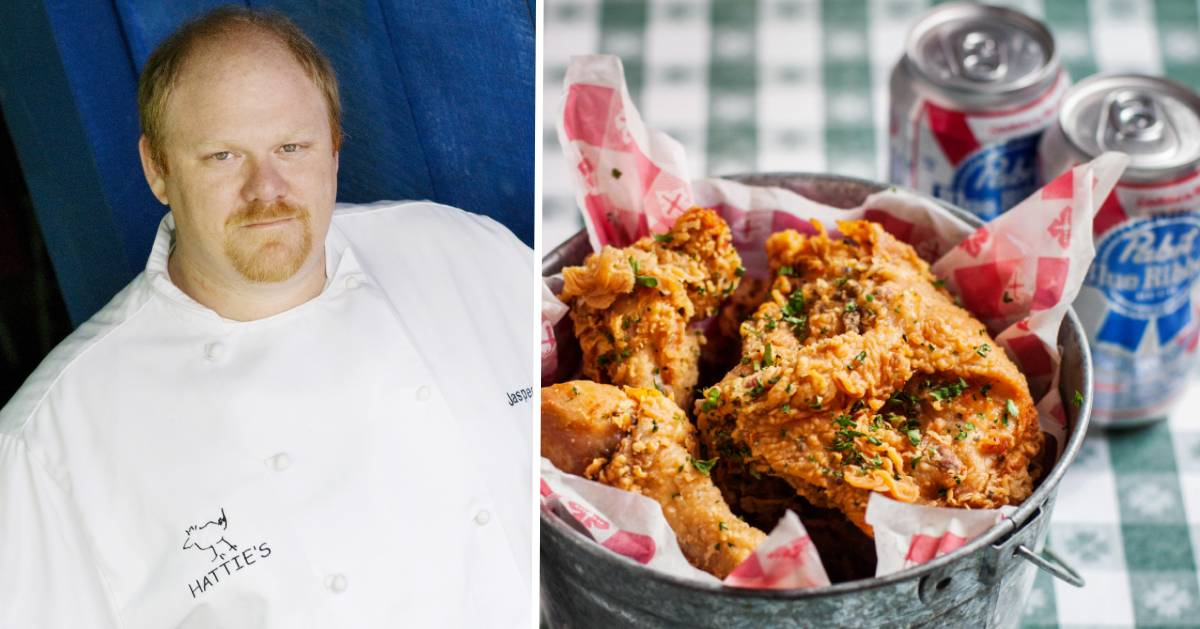 split image with chef on the left and bucket of friend chicken with beer on the right