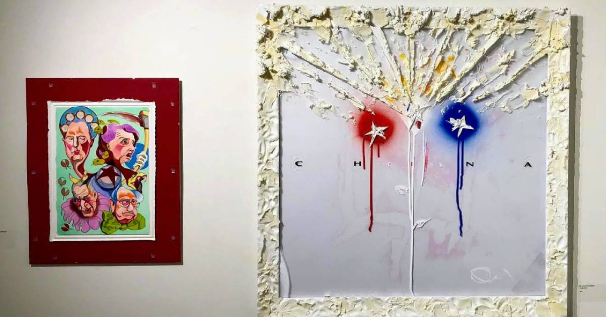 two paintings on a wall