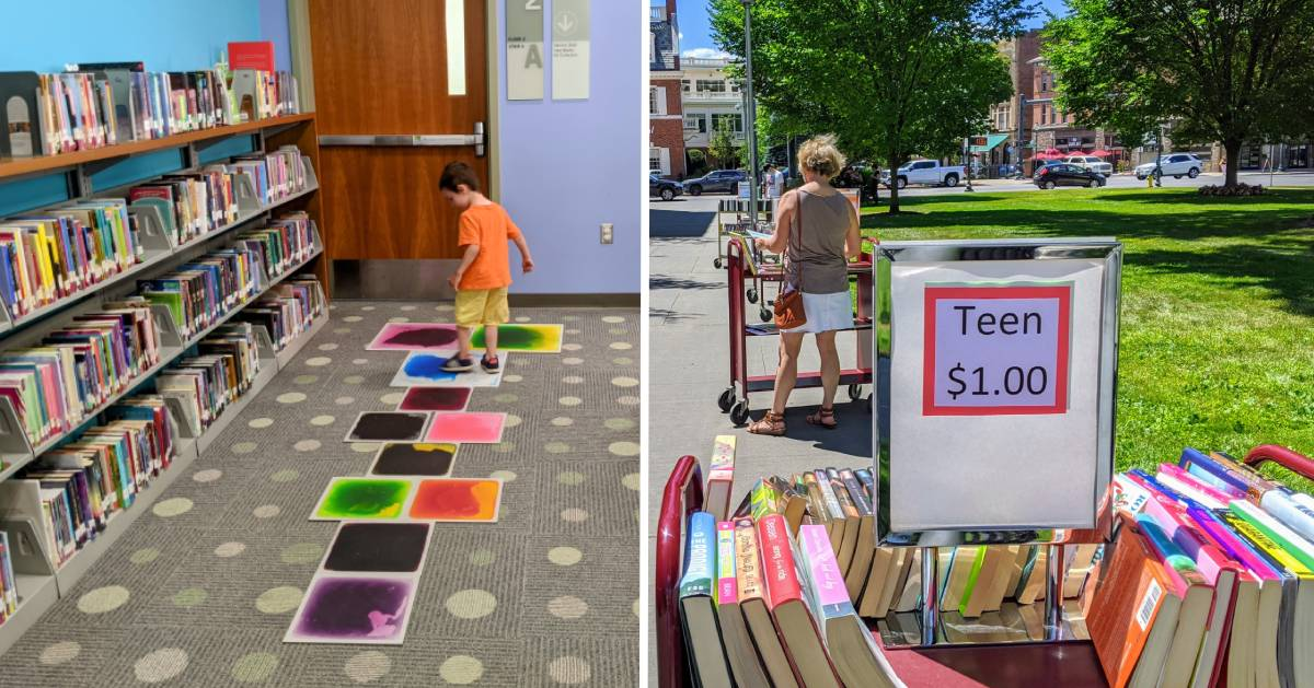 split image with little boy in library on the left and books on carts sale on the right