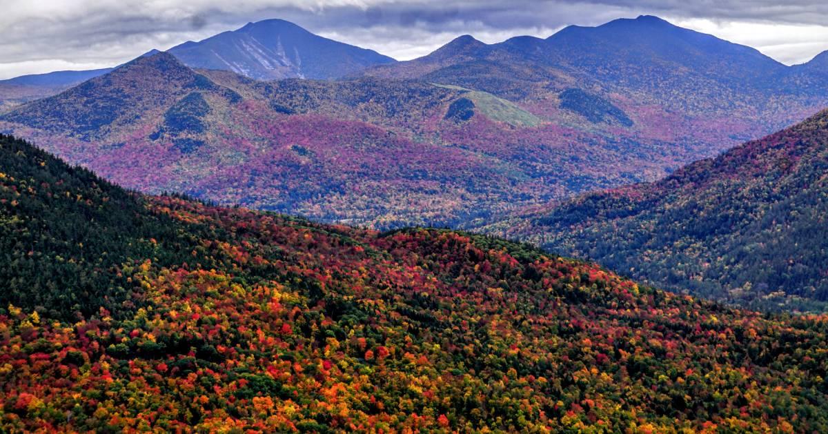 mountain range in the fall