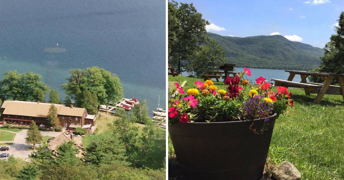 split image with aerial view of lakeside resort on the left and potted flowers and picnic tables by the lake on the right