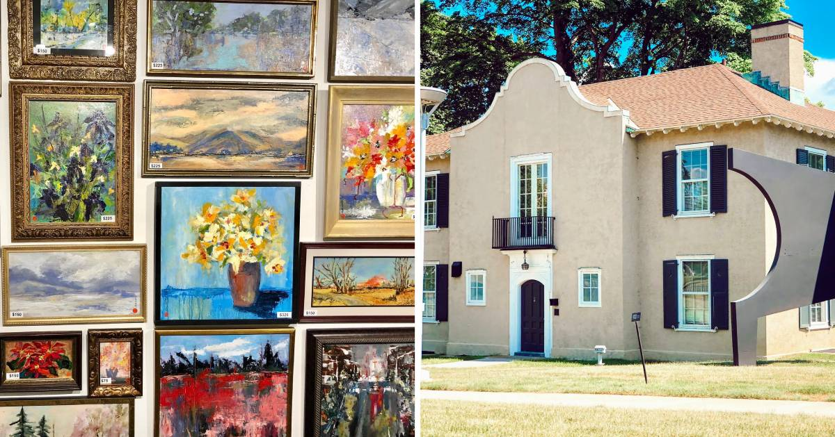split image with paintings on the left and the outside of a museum on the right