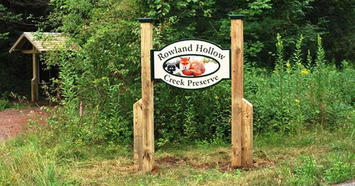 rowland hollow creek preserve sign