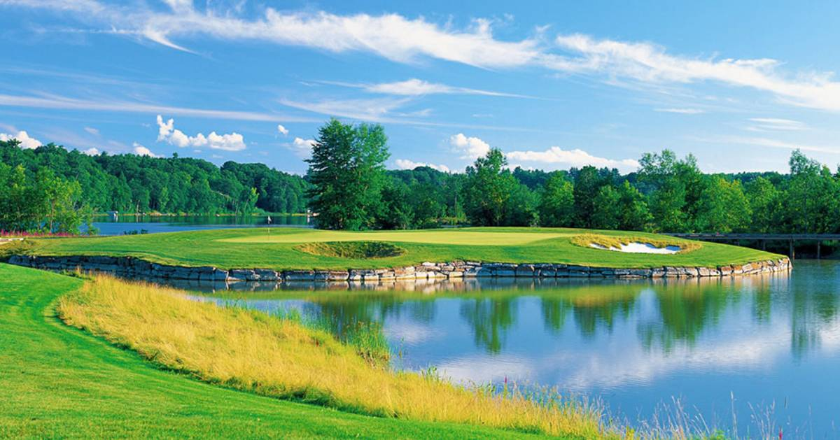 scenic golf course by pond