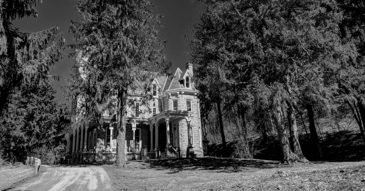 black and white image of a manor