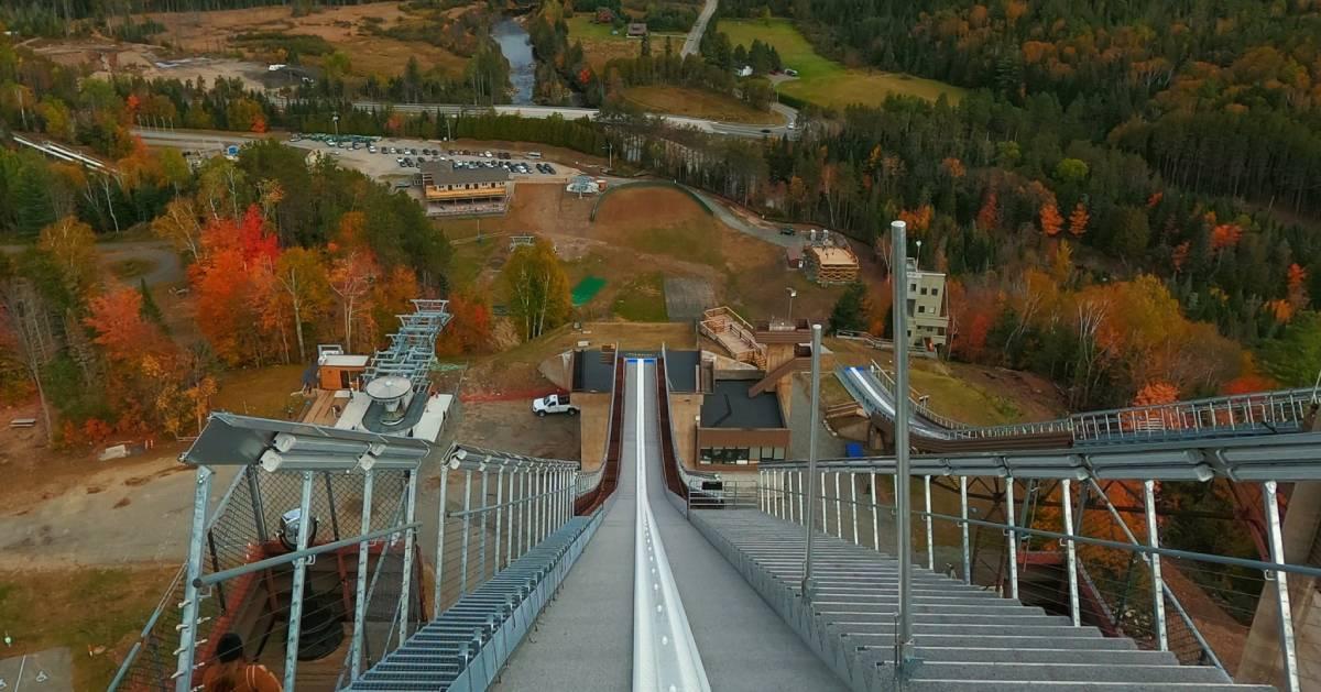 ski jump in the fall