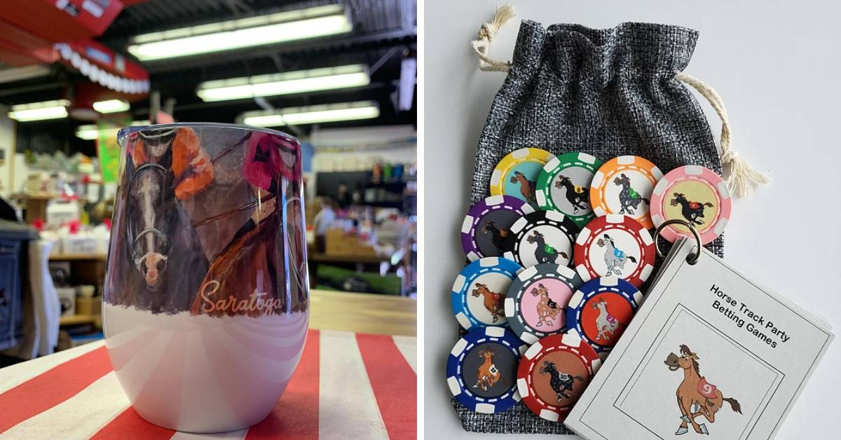 a wine tumbler with a horse image and a bag with poker chips