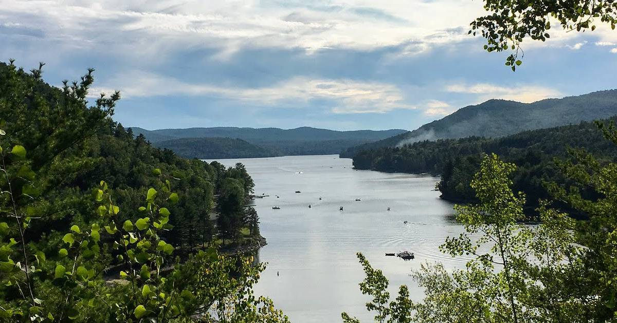 view of the great sacandaga lake from above