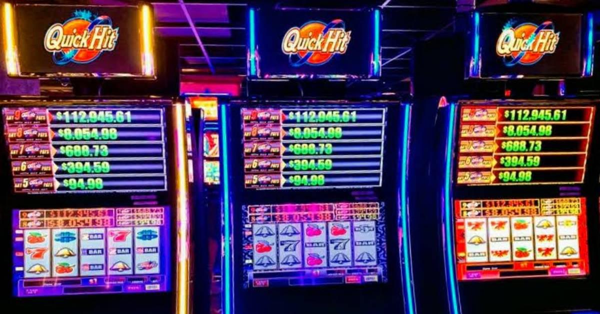 close up of three slot machines