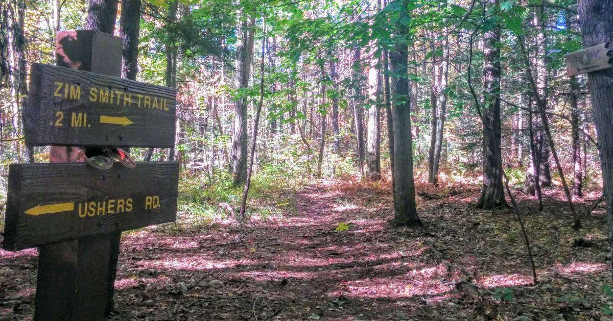 trail sign in woods