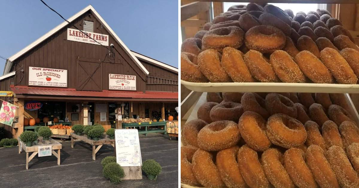 left image of a farm store, right image of cider donuts