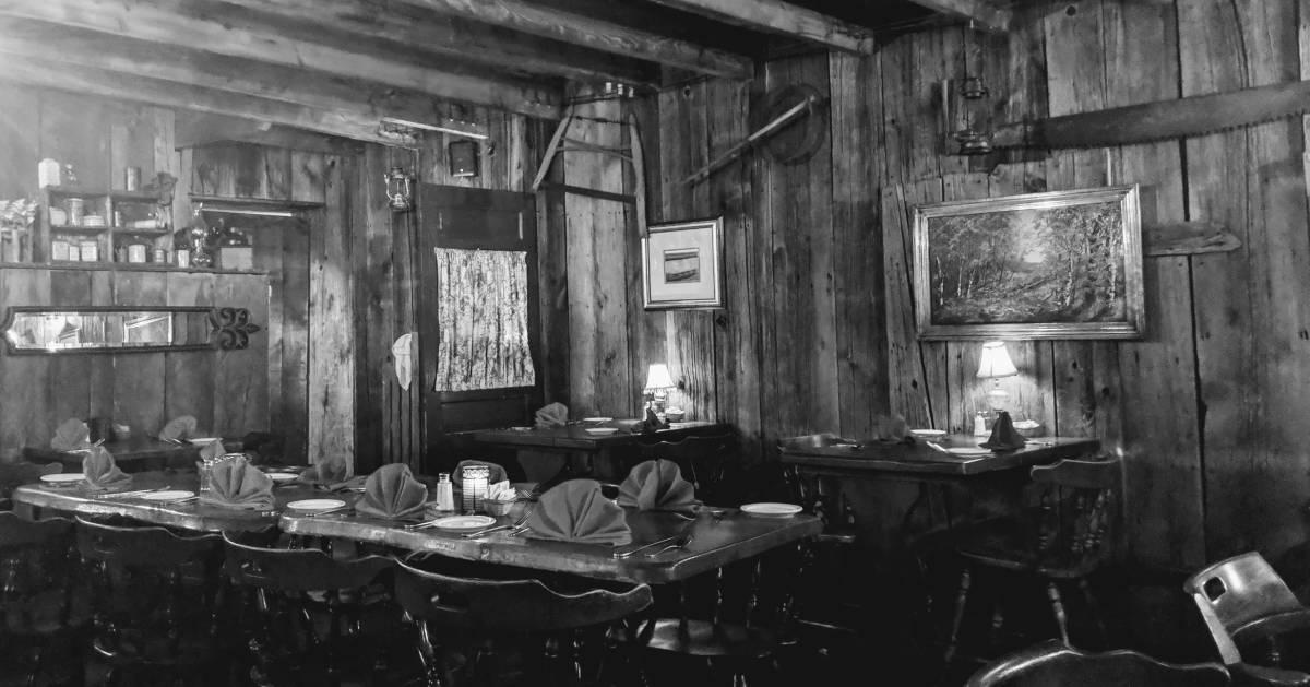 black and white image of Anvil Inn restaurant